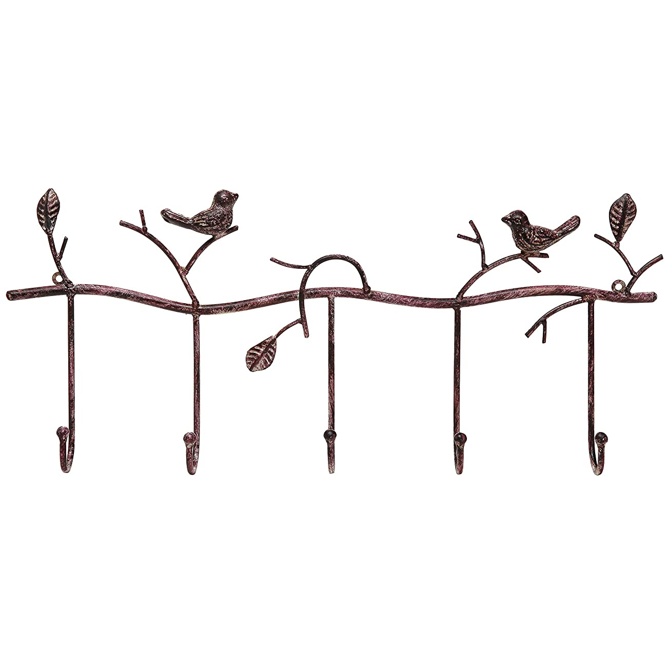 Decorative Rustic Tree Branch & Birds Wall Mounted Metal 5 Coat Hook Clothing / Towel Hanger Storage Rack 1