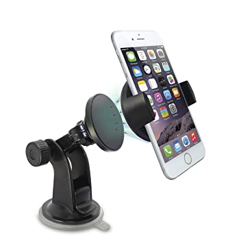 TechMatte Car Mount MagGrip Windshield and Dashboard Universal Magnetic Car Mount With Device Holder for iPhone 6, 6S, Samsung Galaxy S6, S6 Edge (Black)