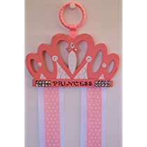 Pink Princess Crown Hair Bow & Clip Holder