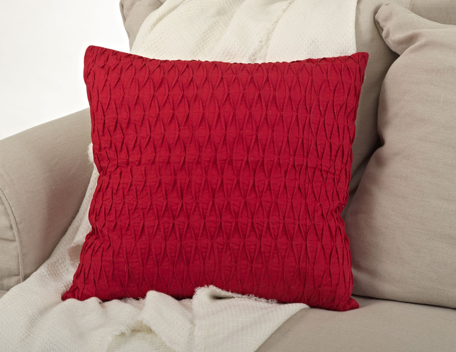 Throw Pillow Fillers : Kamala Pleated Diamond Down Filled Decorative 20-inch Square Throw Pillow, Red eBay