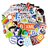 Geek Laptop Programming Stickers [50pcs], COMKI Cool Waterproof Vinyls Stickers for Developer Coder to Personalize Motorcycle, Bicycle, Helmet, Skateboard, Luggage Graffiti Decals (50 Pieces) (Color: Multicoloured, Tamaño: 50pcs)
