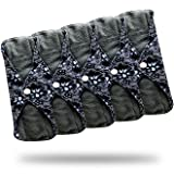 Sanitary Reusable Cloth Menstrual Pads by Heart Felt | 5 Pack Washable Sanitary Napkins with Charcoal Absobancy Layer - Overnight Long Panty Liners for Comfort and Support (Color: Lace Print)
