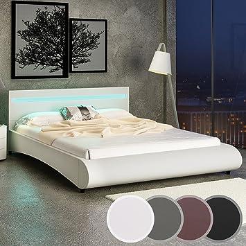 Miadomodo Letto con illuminazione LED in similpelle 180 x 200 cm color crema