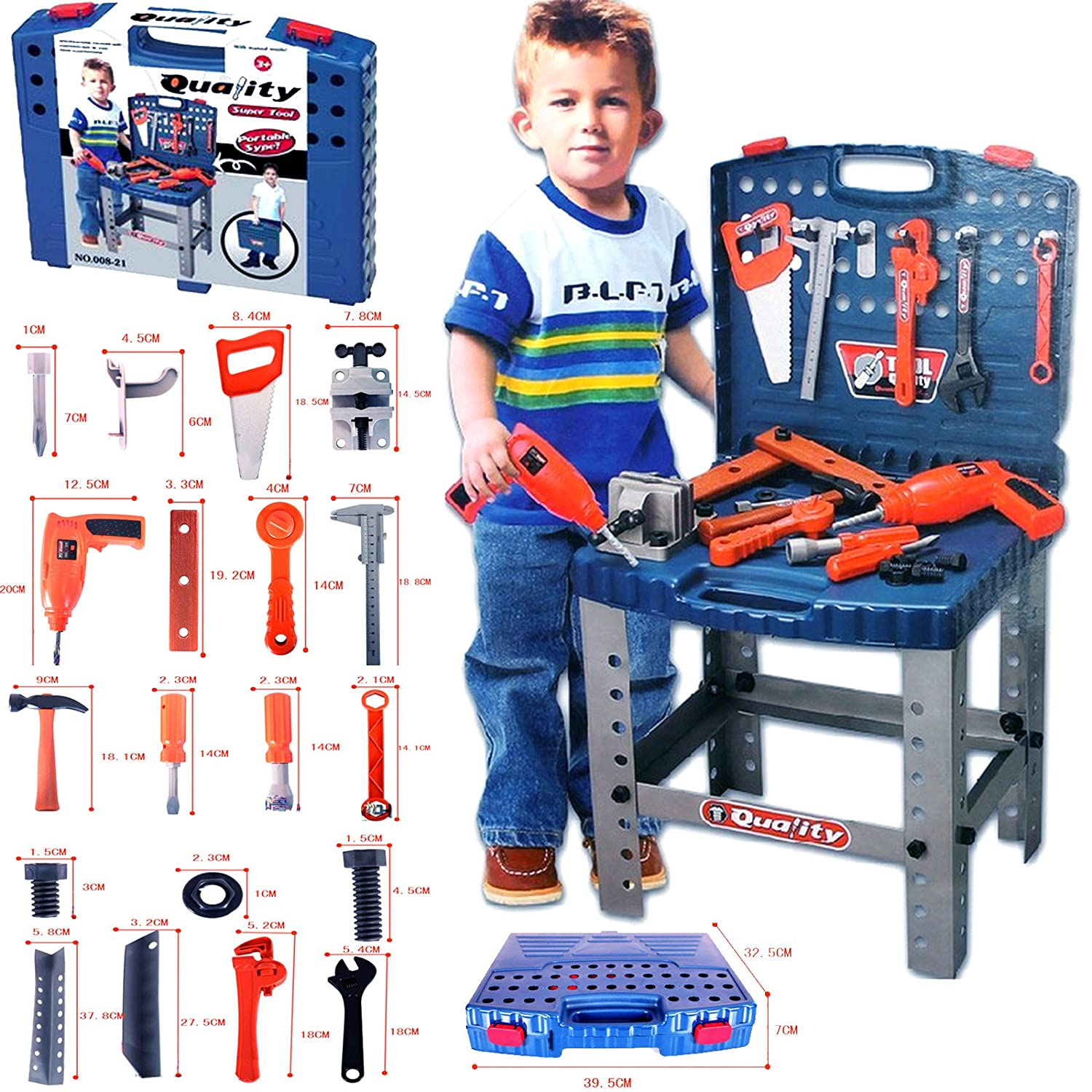 Toy Building Set For Boys : Pc kids work bench tool box kit construction set toy diy