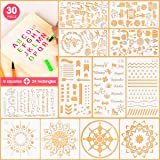 5ARTH Journal Stencils Set - 30 Pcs Bullet Stencils for A5 Notebook, Letter Stencils, Number Stencils, Mandala Stencils and More DIY Drawing Templates for Kids Women (Color: A)