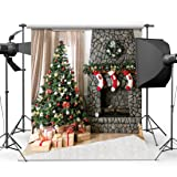 SJOLOON 10x10ft Christmas Photography Backdrops Brick wall Gift Box Red Sock For Children Christmas Studio Backgrounds JLT10295 (Color: Red)