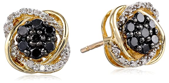 10k-Yellow-Gold-Black-and-White-Diamond-Earrings-3-8-cttw-