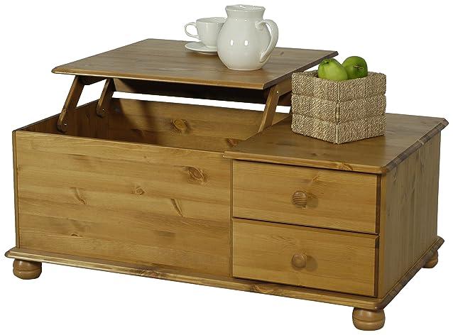 Oestergaard - Tavolino da salotto, con 2 cassetti, in legno di pino effetto anticato, 107x42x62cm