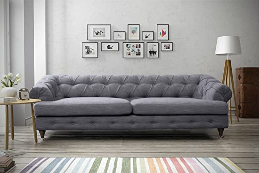 Oxford Chesterfield Linen Fabric Sofas (3 Seater, Dark Grey)