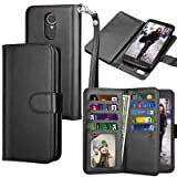 Tekcoo for LG Stylo 3 Wallet Case/LG Stylo 3 Plus/LG Stylus 3 PU Leather Case, Luxury ID Cash Credit Card Slots Holder Carrying Flip Folio Cover [Detachable Magnetic Hard Case] -Black (Color: Black)