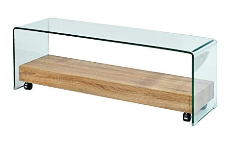 DECORARTE - Mueble Auxiliar - Mesa TV Cristal/Roble - iBERGADA
