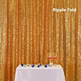 Gold PartyDelight Sequin Backdrop, Photography, Photo Booth, Christmas Backdrop, 4x6 Ft (Color: Gold, Tamaño: 4FTx6FT)