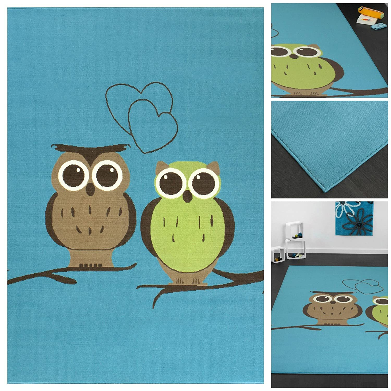 Top Preis! Trendiger Designer Kinderteppich mit lustigen Eulen in Hellblau Braun Grün | Teppich-Läufer mit Owl Motiv für Schlafzimmer, Jugendzimmer, Kinderzimmer oder Wohnzimmer | Flachflor Teppich mit Textilrücken, Farbe:Blau;Größe:80x150 cm