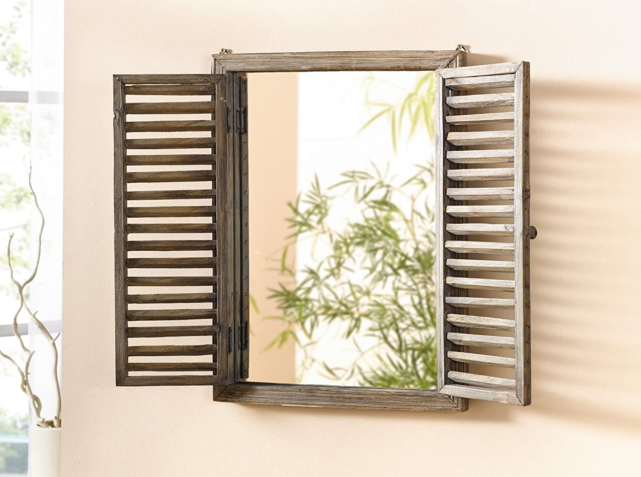 Shuttered Mirror with Frame - Rustic Mirror with Wooden Frame and Shutter Design Product SKU: HD223944 1