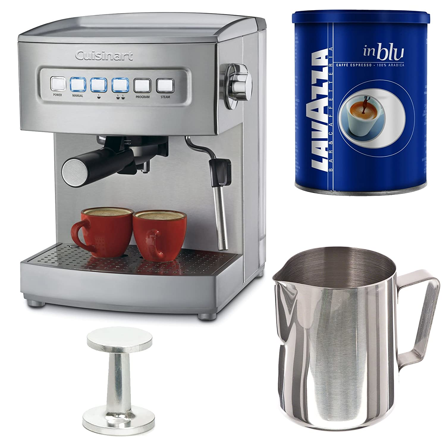 Cuisinart EM-200 Cuisinart Programmable 15-Bar Espresso Maker with Espresso Tamper (50/60mm Size) + 20 oz Frothing Pitcher and Lavazza In Blu Espresso Coffee (8.8oz Can) Bundle portable manual coffee maker handheld espresso coffee machine