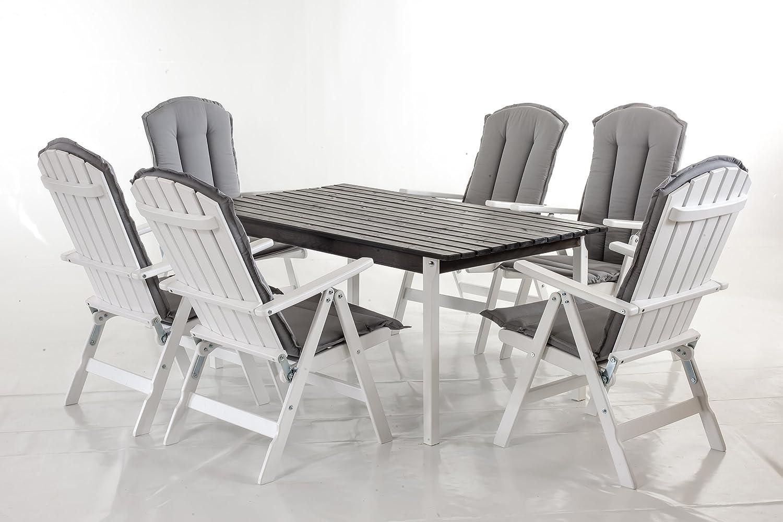 GARDENho.me 13tlg. Sitzgruppe STRANDA Essgruppe Weiß mit Kissen, Tisch eckig ca. 160x90 cm
