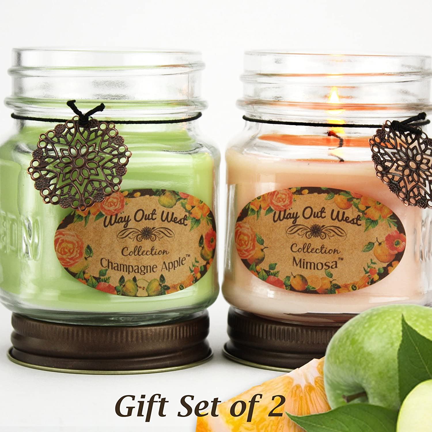 Jar Candles Scented Set of 2 -Mother's Day Gift for Her -Long Lasting, Amazing Spring Summer Scents -Fragranced with Mimosa & Champagne Apple -Candles say I love you to your Wife-Mom, Daughter, Friend
