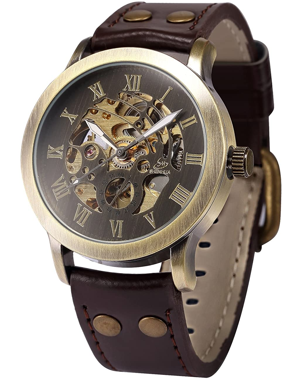 AMPM24 Men's Steampunk Bronze Skeleton Self-Winding Auto Mechanical Leather Wrist Watch PMW198 0