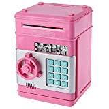 Password Piggy Bank Digital Electronic Money Bank Mini ATM Cash Coin Saving Can Toys Birthday Gifts for Kids Pink Silver (Color: Pink+silver)