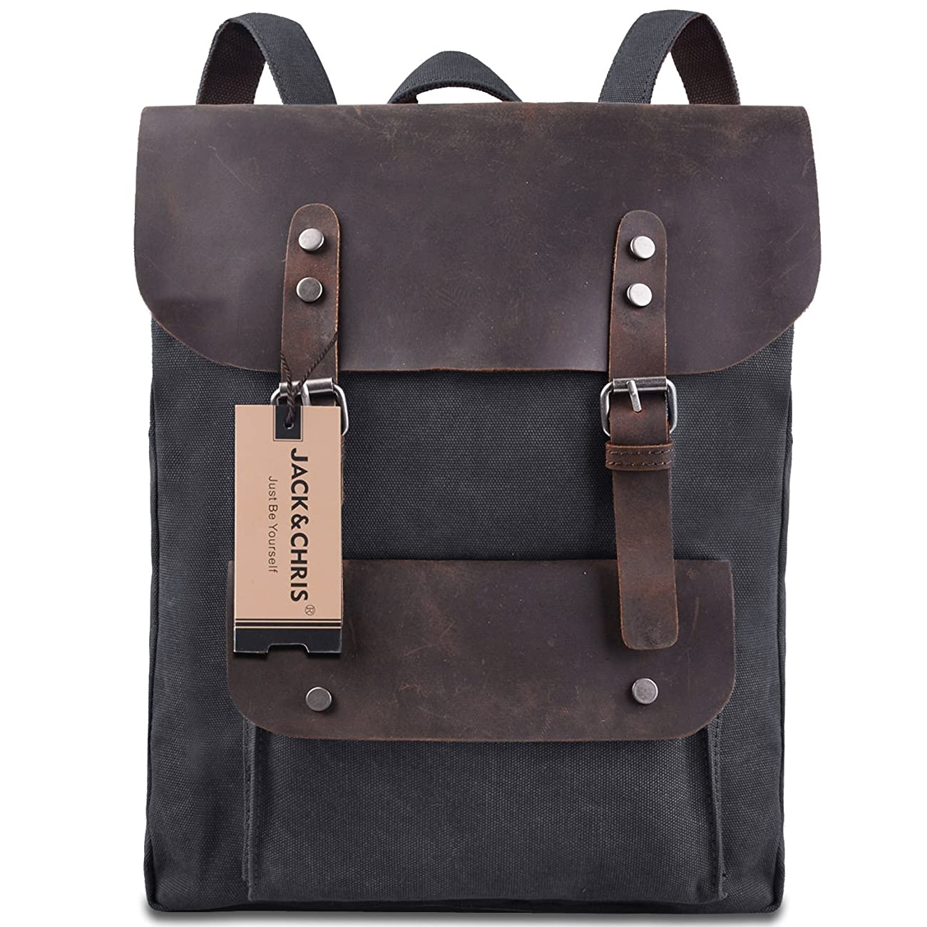 Jack&Chris Vintage Canvas Leather School Backpack Rucksack Bag Daypack,MC2166 0