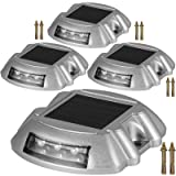 Happybuy Driveway Lights 4-Pack Solar Driveway Lights Bright White with Screw Solar Deck Lights Outdoor Waterproof Wireless Dock Lights 6 LEDs for Path Warning Garden Walkway Sidewalk Steps (Color: White, Tamaño: 4-Pack with Screw)