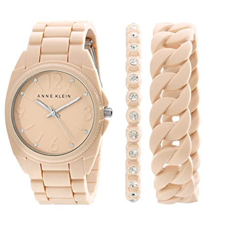 Anne Klein Women's AK/1957BLST Swarovski Crystal Accented Blush Pink Silicone Bracelet Watch Set