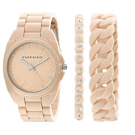 Anne Klein Women's AK/1957BLST Swarovski Crystal Accented Blush Pink Silicone Bracelet Watch Set