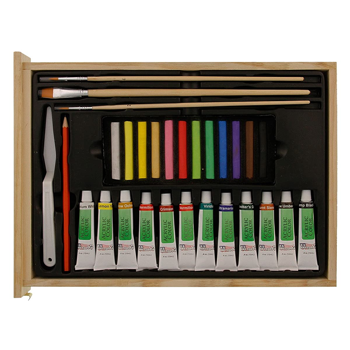 US Art Supply 62-Piece Wood Box Easel Painting Set- Including Box Easel, 12-tubes of Acrylic Paint Colors, 12-Artist Pastels, 3 Assorted Acrylic Painting Brushes