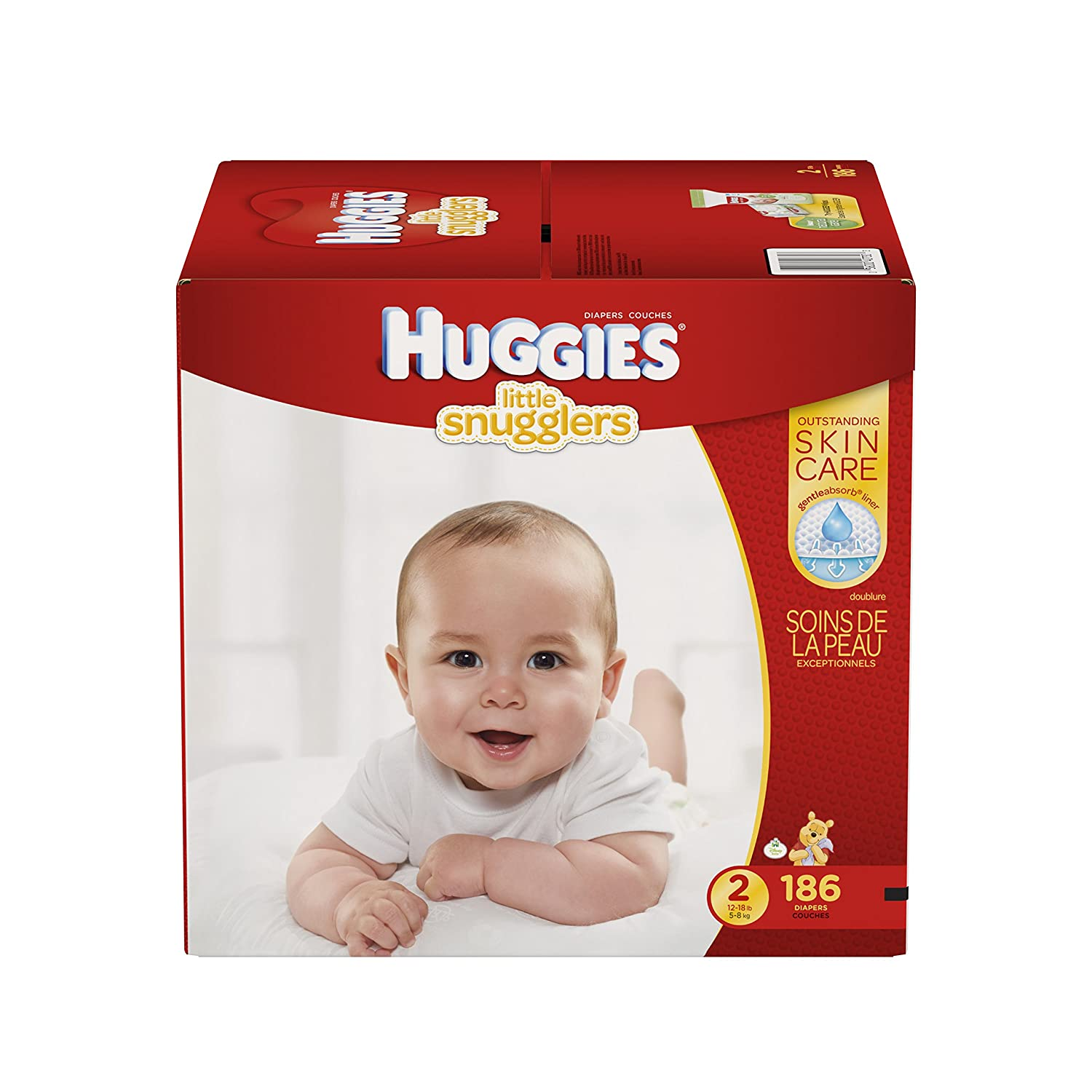 Huggies Little Snugglers Baby Diapers, Size 2, 186 Count (Packaging May Vary)