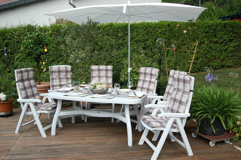 Premium Nardi Gartenmöbel-Set ARUBA 13tlg. Weiß - M942-HL beige-braun karriert