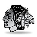 Rico Industries NHL Chicago Blackhawks Chrome Finished Auto Emblem 3D Sticker (Color: Silver, Tamaño: 3.75