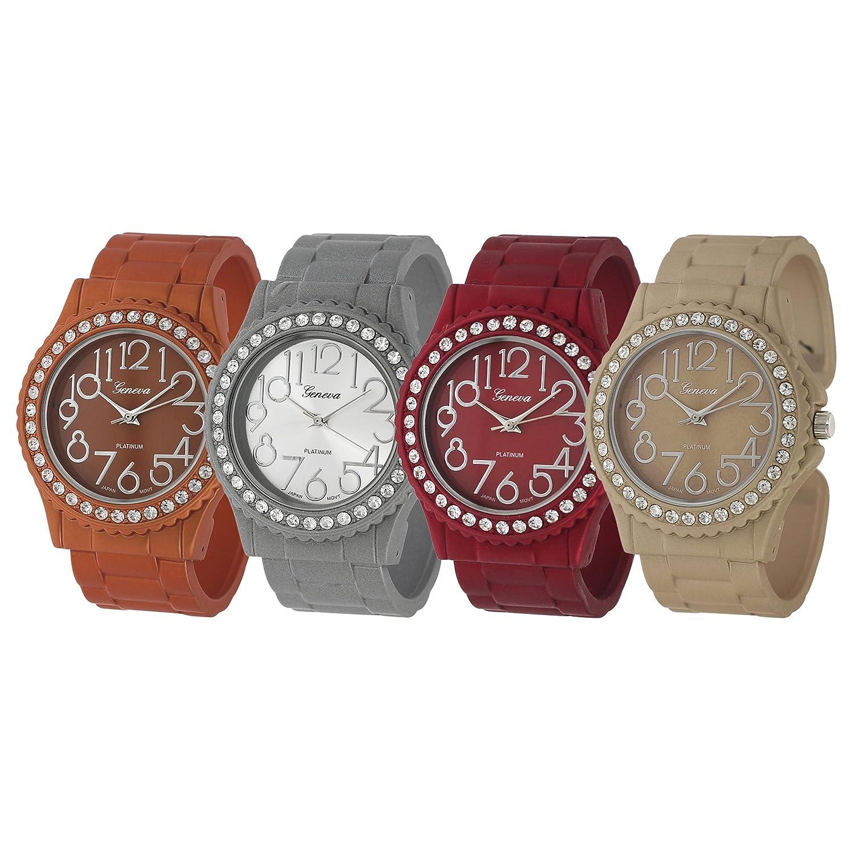 GP by Brinley Co. Rhinestone Tan Cuff Watch