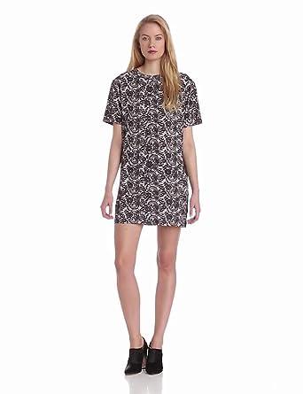 Cynthia Rowley Women's Print Short Sleeve T-Shirt Dress, Black Lace, X-Small