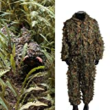OUTERDO Camo Suits Ghillie Suits 3D Leaves Woodland Camouflage Clothing Army Sniper Military Clothes and Pants for Jungle Hunting,Shooting, Airsoft,Wildlife Photography,Halloween or Christmas Gifts (Color: Type 1)