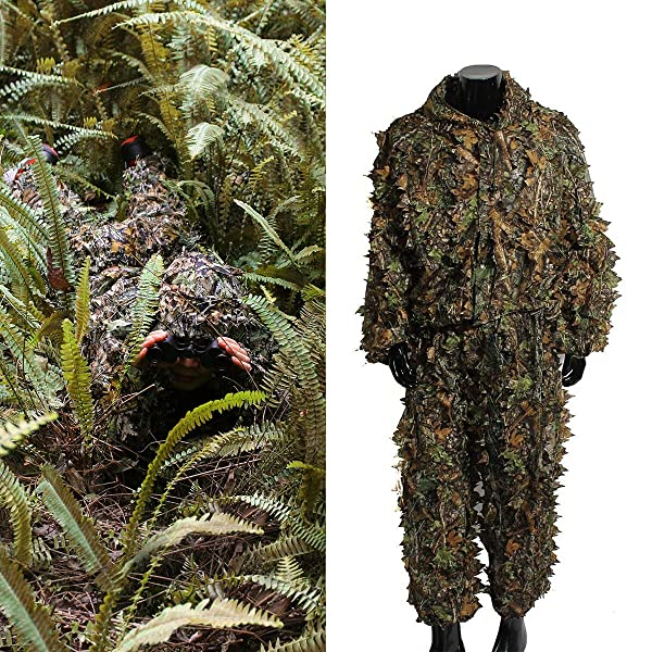 4 Piece Military Army Sniper Hunting Stalking Airsoft Ghillie Suit Set Woodland