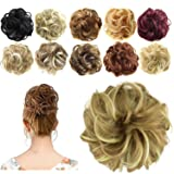 FESHFEN Synthetic Hair Bun Extensions Messy Hair Scrunchies Hair Pieces for Women Hair Donut Updo Ponytail (Color: A30- 16h613 Light Ash Brown & Bleach Blonde, Tamaño: Normal)