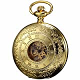 ++Canaloha:)++ KS Men Roman Alloy Golden Case Auto Mechanical Skeleton Steampunk Pendant Pocket Watch