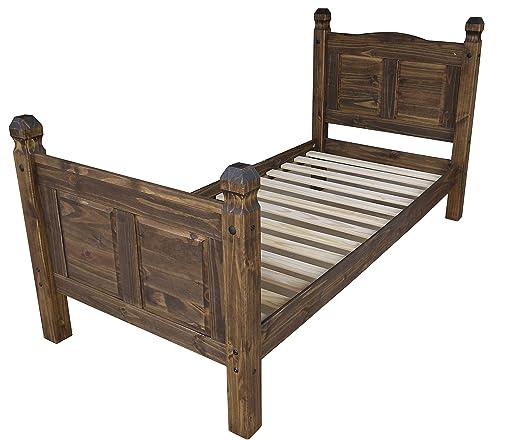 Brasilmoebel® Bett Rio Classico 90 x 200 cm - Pinie Massivholz Brasilmöbel Eiche antik - in vielen verschiedenen Farben - edles Pinienholz - massiv aus nachhaltiger Forstwirtschaft - Schlafzimmer Pinienmöbel