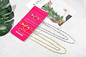 2-Pack ECOHIP Designer Cute Lanyard with ID Holder, Necklace lanyards for Women (Color: Silver - Gold - Style 1, Tamaño: Long)