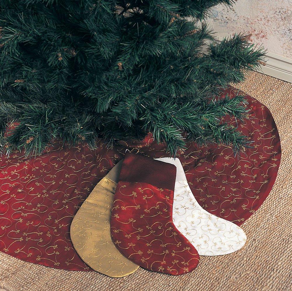 Elegant Gold Embroidery Burgundy Christmas Tree Skirt, 52 Inch Round