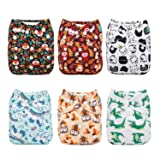 ALVABABY Reuseable Washable Pocket Cloth 6 diapers + 12 inserts (Boy Color)6DM14 (Color: Funny animals, Tamaño: All in one)