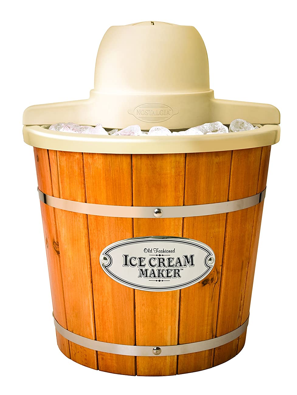Nostalgia ICMP400WD Vintage Collection 4-Quart Wood Bucket Electric Ice Cream Maker with Easy-Clean Liner 0