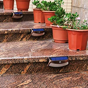 Solar Lights Outdoor, xtf2015 Copper Outdoor Step Lights, Wireless Waterproof LED Solar Lights for Stair, Patio, Yard, Fence, Walkways, Outside Wall - Auto On/Off(2 Pack, Warm White) (Color: Warm White Copper Case)
