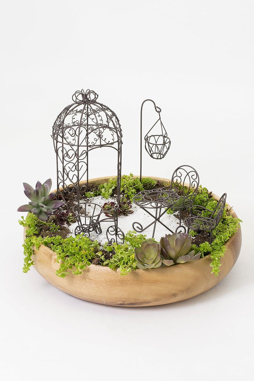 Set of antique fairy garden patio furniture 6 pcs coated metal indoor outdoor u ebay - Suitable indoor plants ...