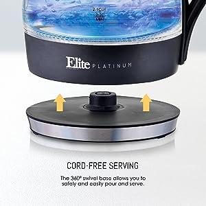 Elite Platinum EKT-300 Glass Electric Tea Kettle Hot Water