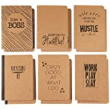 Kraft Notebook - 12-Pack Lined Notebook Journals, Pocket Journal for Travelers, Diary, Notes - 6 Different Funny Motivational Designs, Soft Cover, 80 Pages, Brown, 4 x 5.75 Inches (Color: Funny Motivational Designs, Tamaño: 12-Pack)