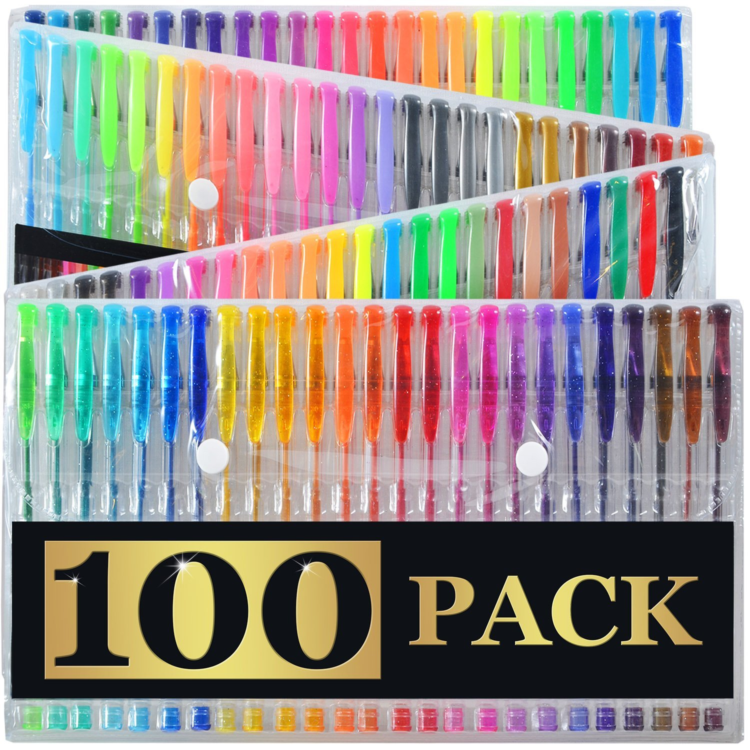 100 Gel Pens with Case (EXTRA LARGE SET) - 100 Individual Colors (No Duplicates) - Glitter, Metallic, Neon, Pastels, and more ink types! Perfect for Adult Coloring Books & Drawing