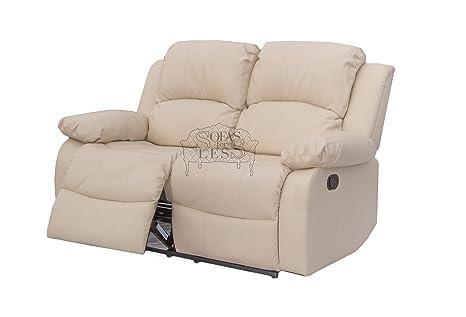 Title: Premium Cream Bonded Reclining Leather Sofa Suite - (2 Seater) Luxury Settee