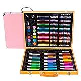 HYNGCHI 150 Pieces Wood Case Art Set Painting & Drawing Set Art Supplies Pencil Crayons Paper (3 Color Send in Random, 150 Pieces) (Color: 3 color send in random, Tamaño: 150 pieces)