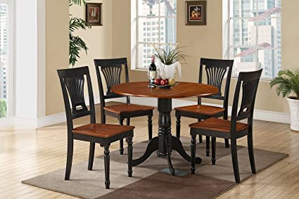 East West Furniture DLPL5-BCH-W 5-Piece Kitchen Table and Chairs Set, Buttermilk/Cherry Finish